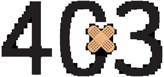 403 Fehler mit Pflaster als Symbol