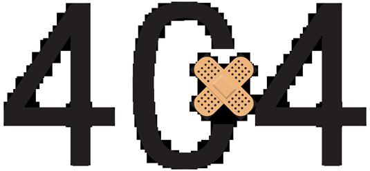 404 Fehler mit Pflaster als Symbol
